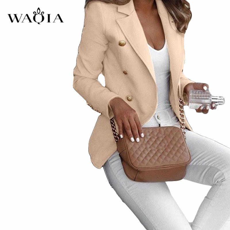 プラスサイズ 5XL 女性作業ブレザーオフィスカジュアルエレガントなスリムスーツ長袖コートとジャケット上着ダブルブレスト