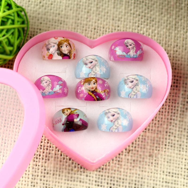 2017 Fashion accessories 8Pcs Girl Cartoon toy Rings Cute kinds Princess Anna Blue gift Pretty Flower shaped Ring Party Gift