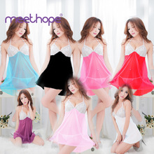 Meethope Sexy Clothes Erotic Underwear Women Baby Doll Lingerie Hot Transparent Plus  Lace Sleepwear
