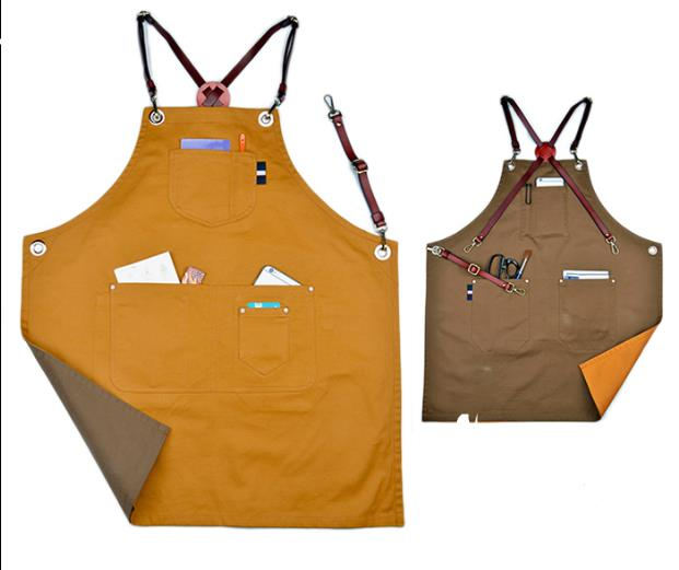 Luxury Designer Double Sides Canvas Bib Apron Leather X Strap Barber Kitchen Chef Apron With Pocket Tattoo Shop Workwear S68