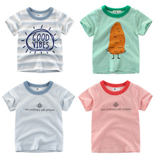 Summer Kids Boys Cotton T -Shirt Letter PrintStripe Short Sleeve Baby Boys Girls T-shirt Clothes T-shirt O-neck Tee Tops Dress love kids baby boys clothes cool summer superman short sleeve t shirt cotton tops clothes lxl