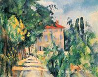 Impressionist Wall Art Paintings House With Red Roof Paul Cezanne Artwork Hand Painted High Quality
