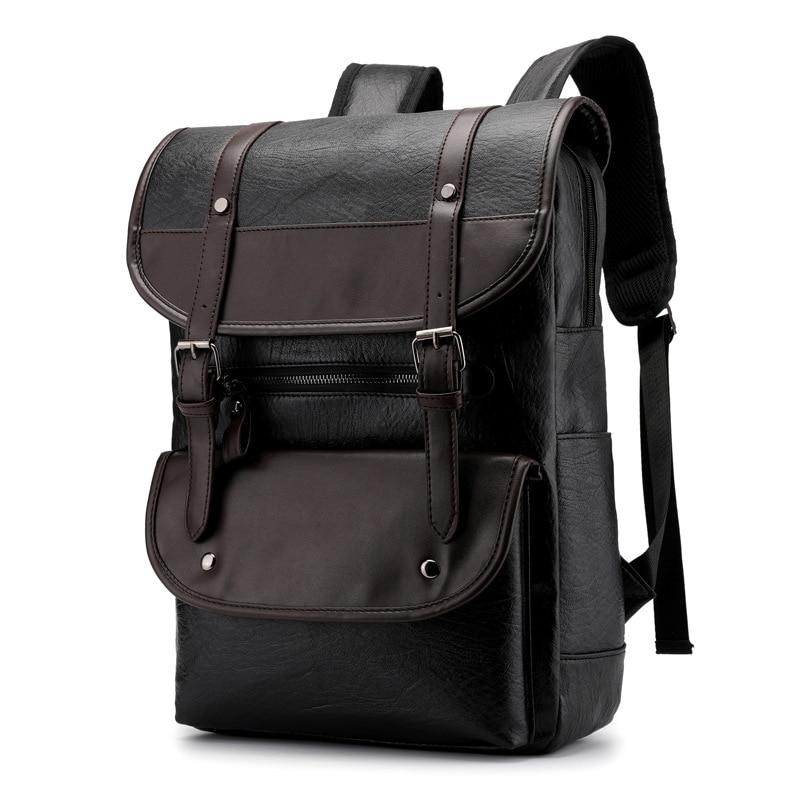 PU Leather Laptop Backpack 17.3 17 Inch Male Large Waterproof Vintage Back Pack Black Brown Backpack Leather Men