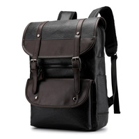 PU Leather Laptop Backpack 17.3 17 inch Male Large Waterproof Vintage Back pack Black Brown Backpack Leather Men