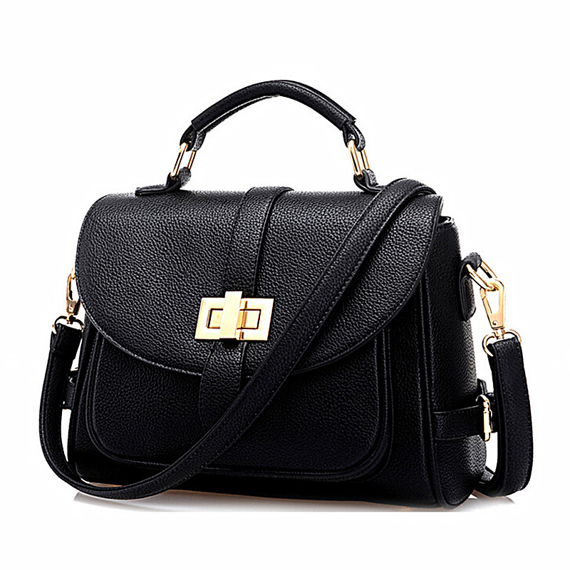 High Quality Women Leather Handbags Black Fashion Shoulder ...