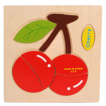 High Quality Wooden Cherry Puzzle Educational Developmental Baby Kids Training Toy Free Shipping
