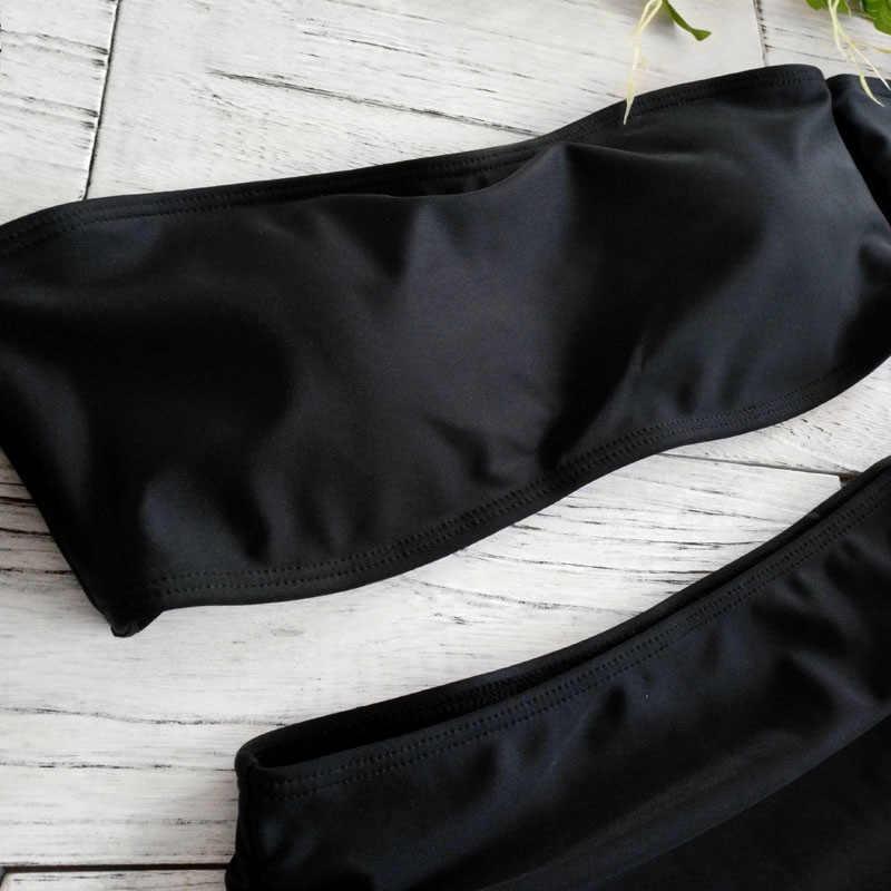 Kostium kąpielowy na jedno ramię 2019 New Arrival bez ramiączek Bandeau Sexy Bikini Set kobiety stroje kąpielowe wysokiej talii czarny kostiumy kąpielowe bez pleców