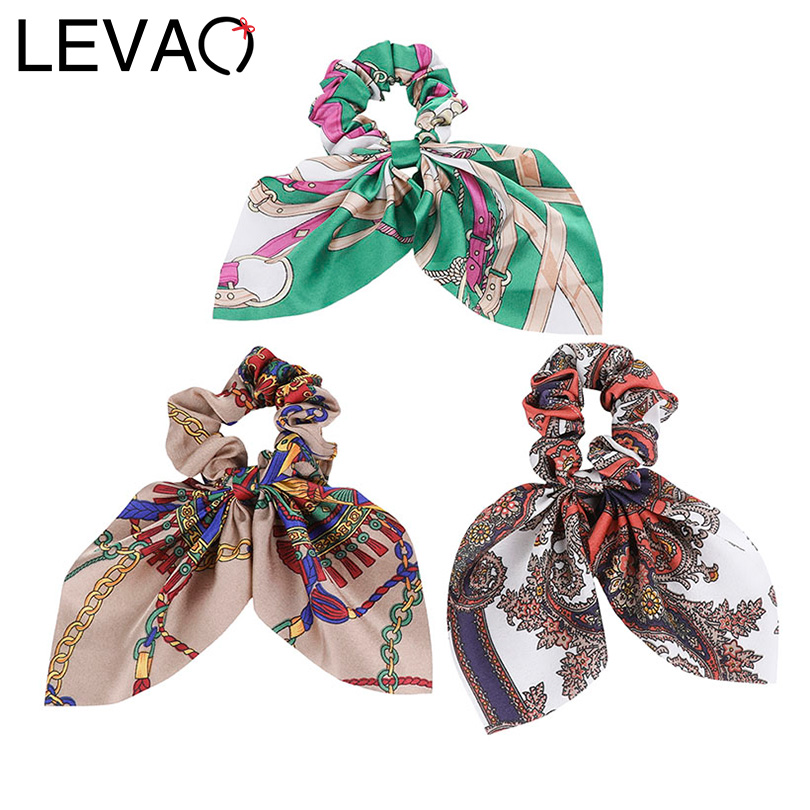 LEVAO Floral Print Scrunchie Women New Hair Scarf Elastic Bohemian Hairband Bow Hair Rubber Ropes Girls Hair Ties Accessories