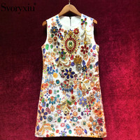 Svoryxiu High End luxury Runway Summer Party Tank Short Dresses Women's Vintage Baroque Printed Crystal Diamond A Line Dress