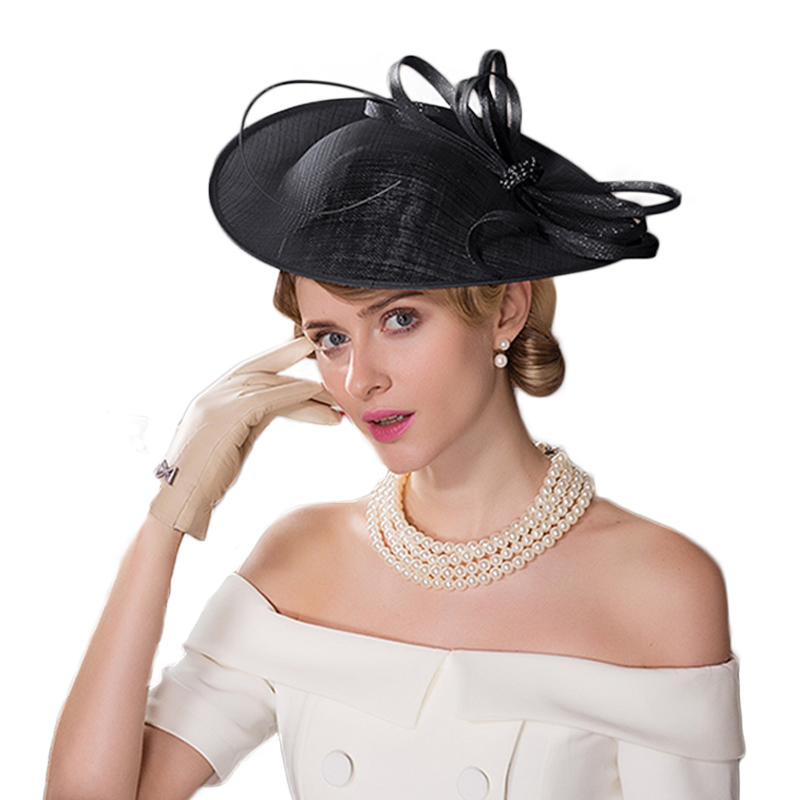 54832f9fdfdf3 FS Fascinators Women Beige Sinamay Hat For Wedding Kentucky Derby Church  Hats Pillbox Ladies Derby Cocktail Chapeu Fedoras-in Fedoras from Apparel  ...