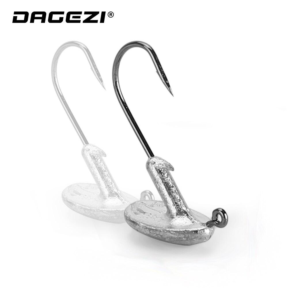 DAGEZI 5pcs/lot Jig Lead Head Hook 3.5g/5g/7g Fishing Hook Lead GrankHook Soft Worm Carp Fishing Tackle