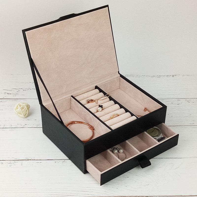 Noir Bijoux En Cuir boîte de rangement Femmes Portable Voyage Bijoux Organisateur De Stockage À L'intérieur Velours Boîtes Bijoux Packaging Display