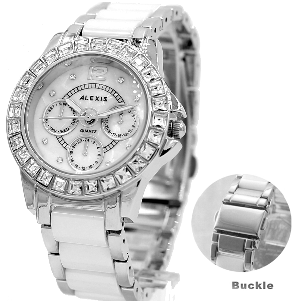 ALEXIS Brand Elegant Water Resistant Silver Crystal Watchcase White Dial Ceramic Bracelet Watches women fashion watch 2017 natural brand new gold ceramic watches shell white dial water resistant rose crystal ladies bracelet watch fw830v free gift box