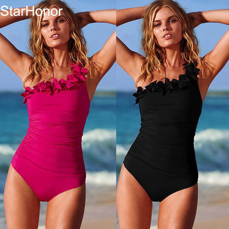 StarHonor  Solid Women Swimwear Sexy Halter One Piece Swimsuit Retro Biquini Bathing Suit Beach Suits Monokini Plus Size S-3XL 2017 sexy striped one piece monokini plus size women padded swimsuit bathing suit swimwear pink black red color dress beach wear