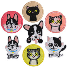 Cartoon Patch Sticker Applique on Clothes Dog Iron Patches for Clothing Applications Stripe Cat Accessories