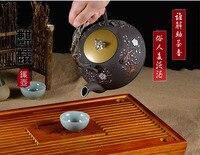 Floral boiling kettle Black Cast Iron   handmade exquisite Chinese style teapot tea pot