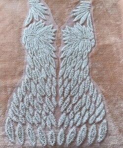 Image 4 - Handgemaakte kralen strass parel trim patches sew op applique 55*31 cm voor jurk voor en achter