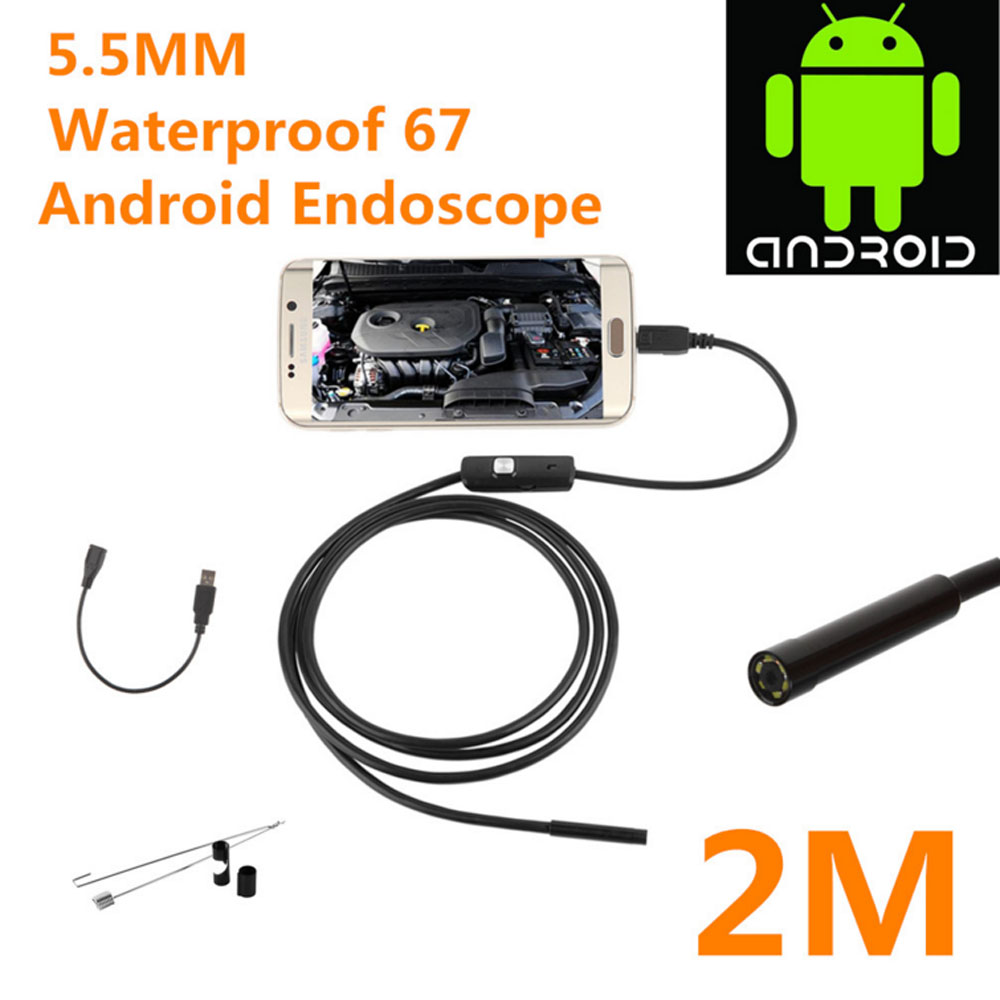 2018 Newest 5.5/7mm Waterproof Mini Android Endoscope USB Wire Snake Tube Inspection Borescope Compatible Android Smartphone PC