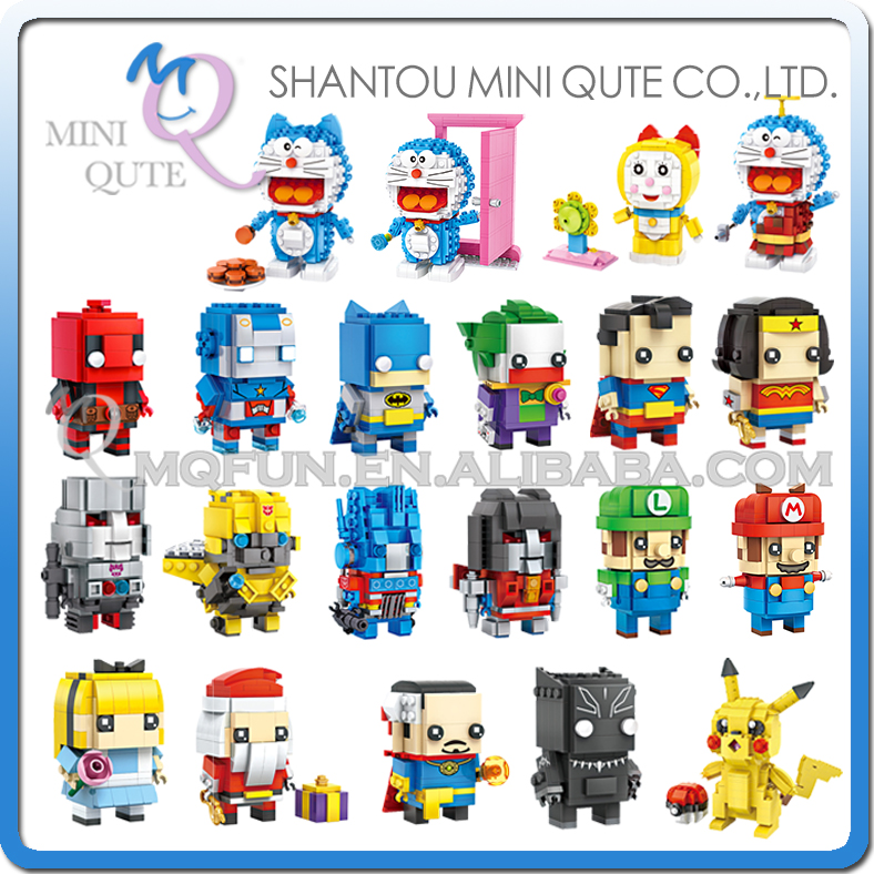Mini Qute LOZ Anime Doraemon Bumblebee pikachu Super Mario plastic building block bricks model action figures educational toy