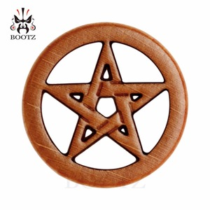 Image 5 - new fashion piercing body jewelry star logo wood plugs flesh ear tunnels 10 25mm