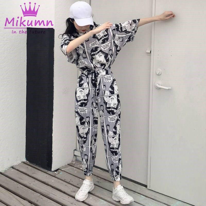 d2ef4b862 Punk Harajuku Harem Pantalones mujer hombres dibujos animados impresión  suelta cordón pantalones ...