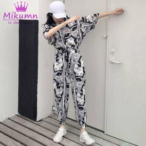Casual Trousers Drawstring-Pants Print Harajuku Streetwear Hip-Hop Loose Punk High-Waist