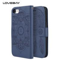 Lovebay Luxury Wallet Leather Phone Case For IPhone 7 6 6S Plus 5 5s SE Mandala