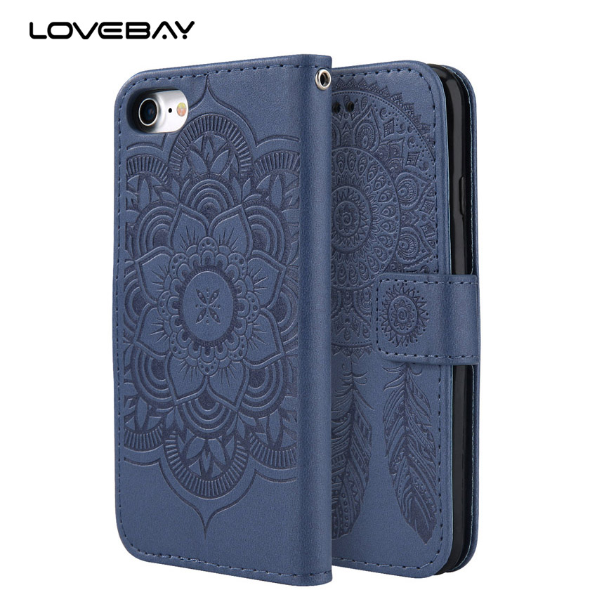 Lovebay Luxuxmappenleder Telefon Fall Für iPhone X 8 7 6 6 S Plus 5 5 s SE Mandala-blume Cases Card Slot Stehen abdeckung