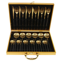 KuBac 30 Pieces Black Gold Dinnerware Set 18/10 Stainless Steel Dinner Knife Fork White Gold Cutlery Set Pink With Giftbox