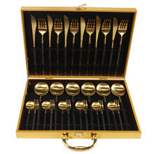 KuBac 30-Pieces Black Gold Dinnerware Set 18/10 Stainless Steel Dinner Knife Fork White Gold Cutlery Set Pink With Giftbox(China)