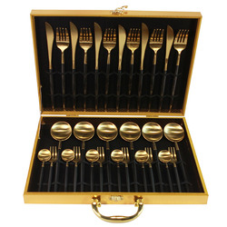 KuBac juego de vajilla de Oro Negro 18/10 cuchillo de cena de acero inoxidable tenedor juego de cubiertos de oro blanco rosa con caja de regalo triangulación de envío