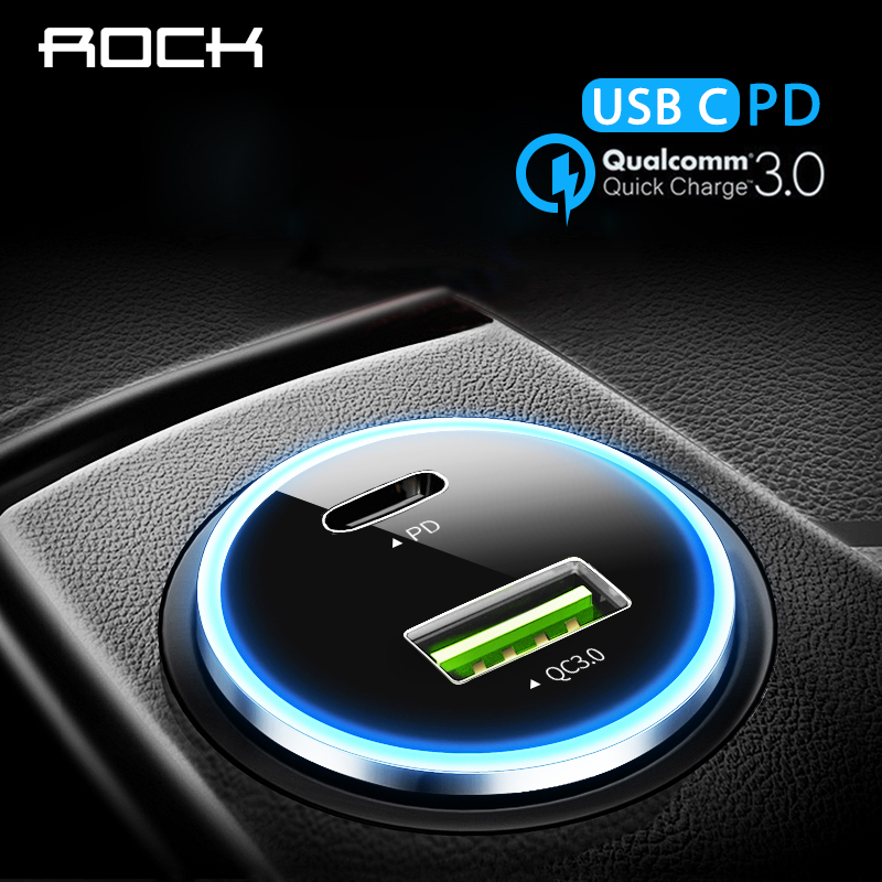 PD QC 3.0 Car Charger, ROCK Dual USB Car-Charger For iPhone X 8 7 6 Samsung Xiaomi Type C PD Quick Charge 3.0 LED Indicator