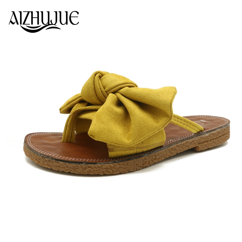 eb8ae4c02ec1f6 AIZHUJUE 2018 New Women Bow Slippers Spring Summer Autumn Home Flowers  Beach Slippers Home Flip Flops Comfortable Flat Shoes