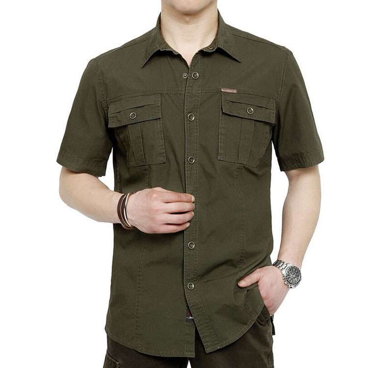 Plus Size XXXXXL Summer Men\'s 100% Cotton Shirts Solid Color Dress Short Sleeve Shirts Casual Outdoor Man Brand AFS JEEP 5003 (1)