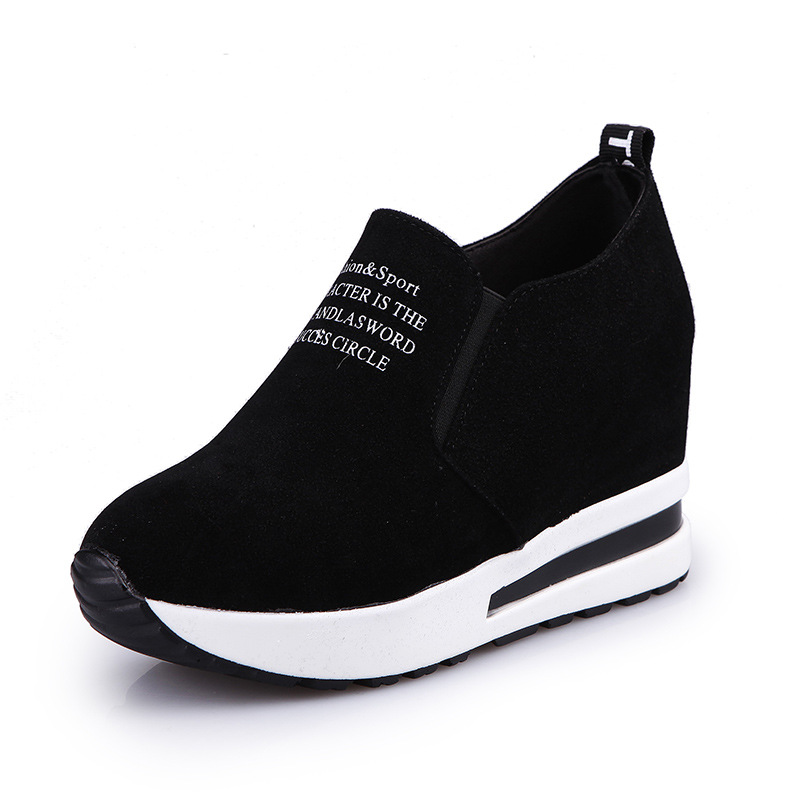 2019 Flock New High Heel Lady Casual Black/Red Women Sneakers Leisure Platform Shoes Breathable Height Increasing Shoes 35-40