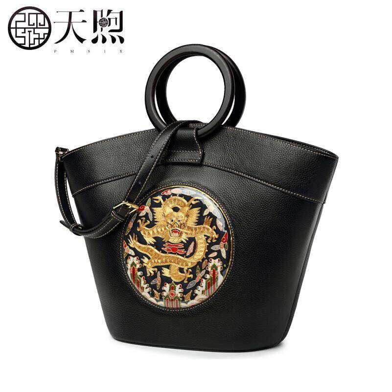 Pmsix marque sacs à main 2018 design original à la main en cuir sac à main femme Su broderie anneau broderie style chinois sac