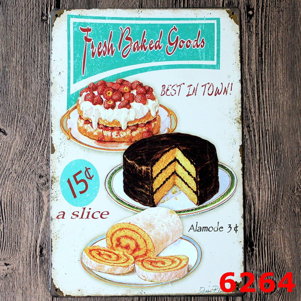Retro Kitchen Wall Decor Tin Plate Wall Decor Ancient Ways Frameless Draw Bar Cake