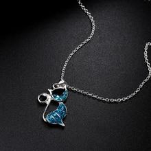 Cute Cat Pendant Blue Opal Necklace