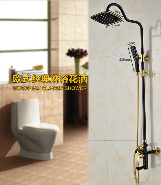 Dofaso vintage shower set Black Shower Faucet Mixer Tap With Hold ...