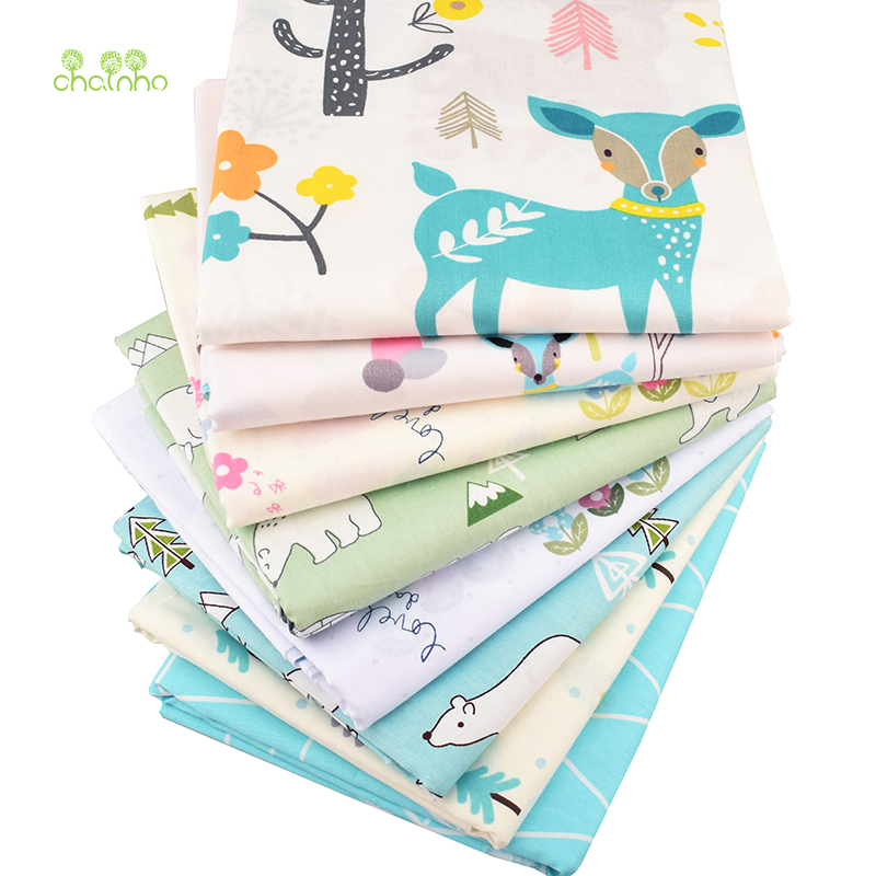 Chainho,8pcs/lot,New Cartoon series Twill Cotton Fabric,Patchwork Cloth,DIY Sewing Quilting Fat Quarters Material For Baby&Child