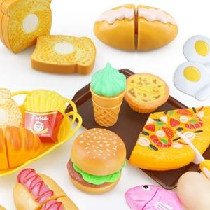 Children Kitchen Cutting Toys Pizza Hamburger Bread Fast Food Pretend Play Plastic Miniature Food Girls Kids Education Toy Gift