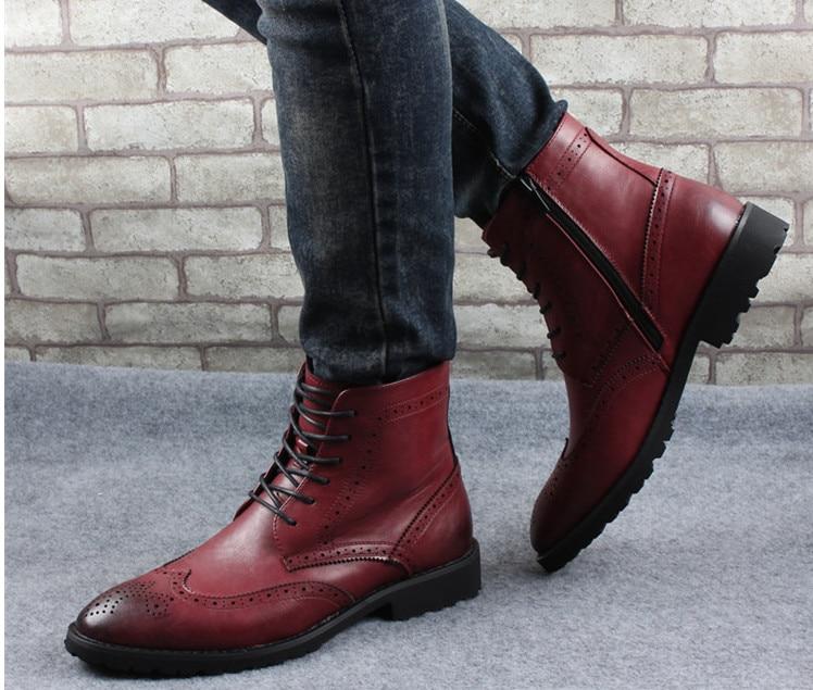 2018 nouvelle mode hommes chaussures en cuir mâle automne hiver chaussures en cuir angleterre style hommes plat décontracté martin bottes - 2