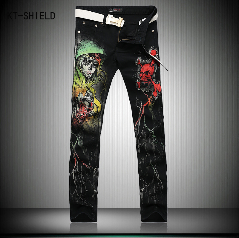 Designer Brand Mens fashion skull printed biker jeans Men Slim fit colored drawing print denim overalls Men Black long trousers