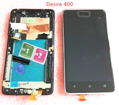 NEW Original For HTC desire 400 Full LCD Display& Touch Screen Digitizer Assembly with frame silver free shipping lcd screen display touch panel digitizer with frame for htc one m9 black or silver or gold free shipping