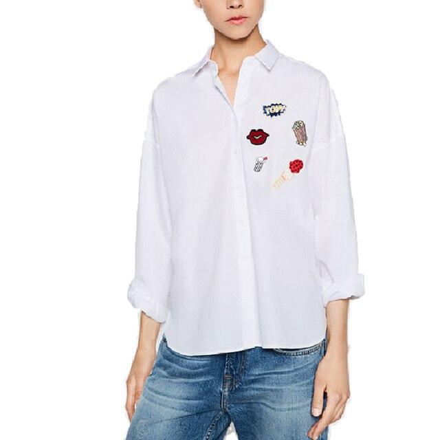Женщины симпатичные губ попкорн свободные полосатый блузка хлопок негабаритных Мороженое напитки патч рубашка с длинным рукавом работа в офисе износ топ LT1043