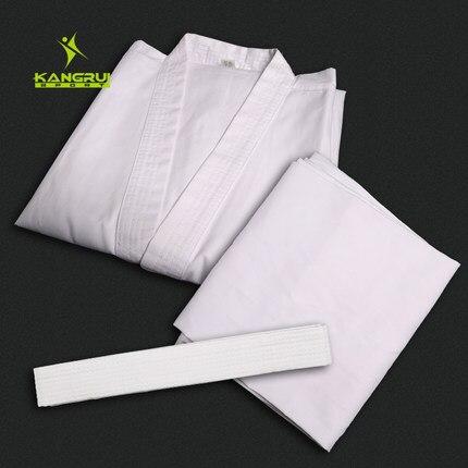 Взрослых каратэ равномерное дышащий добок тхэквондо пояс Каратэ костюм Одежда для детей мужчины белый Форма Бесплатная доставка