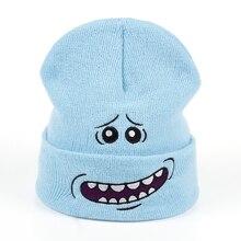 Г-н Meeseeks Зимние трикотажные шапки Рик и Морти Кепка аниме Теплая светло-синяя Милая шапка для спорта на открытом воздухе лыжные вязаные шапки Скалли