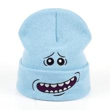Sr. Meeseeks gorros tejidos de invierno Rick y Morty gorros de Anime cálido  azul claro encantador Beanie deporte al aire libre e. fee25eab072