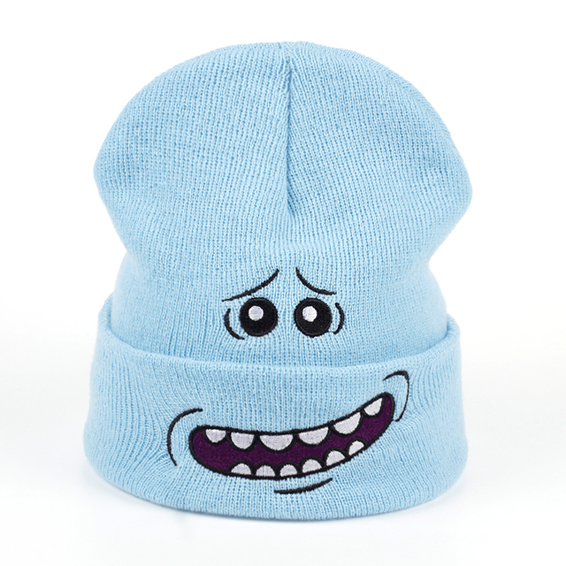 4a04b1b3e69c7 Mr. Meeseeks Winter Knitted Hats Rick and Morty Anime Caps Warm Light Blue  Lovely Beanie