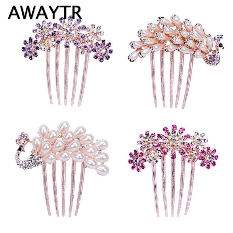 AWAYTR Sunflowers Crystal Rhinestone Hair Clip Queen Crown Headband Peacock Hairpin For Ladies Hair Accessories Headwear